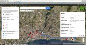 Resultado final da criação do mapa temático a partir dos dados existentes na tabela da Google SpreadSheet