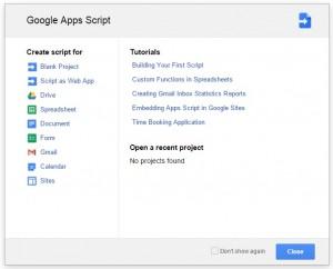 Opções da Janela Google Apps Script