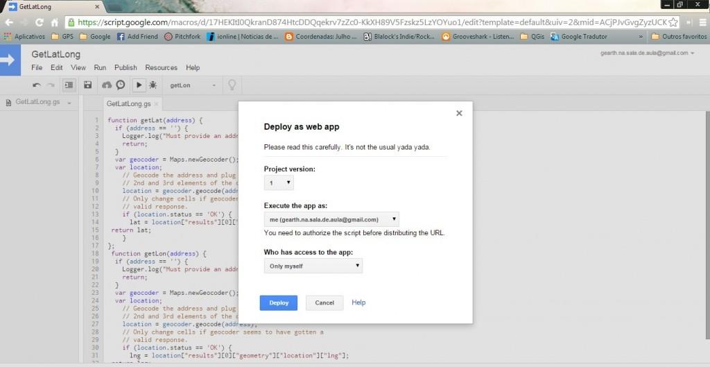 Gravação e publicação da Web App
