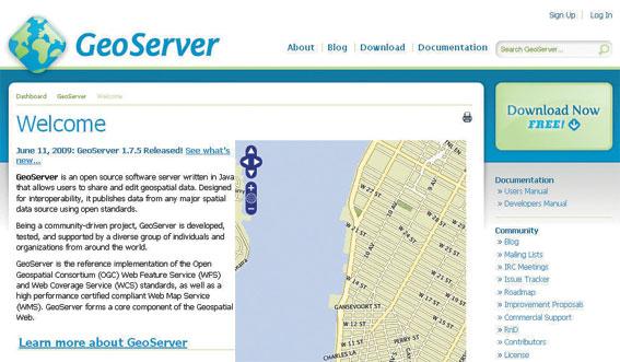 Site do GeoServer
