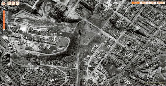 Imagem área da mesma região em 1958
