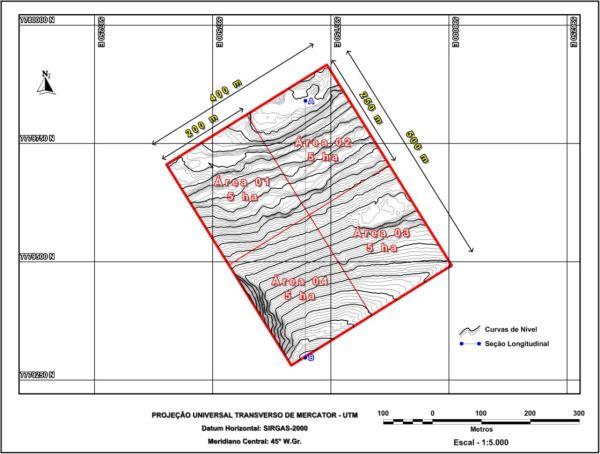 Figura 6 Estudo de caso de um levantamento topográfico altimétrico realizado com estação total e laser Scanning terrestre