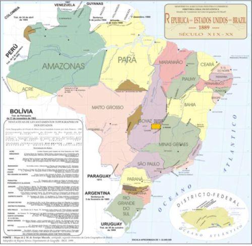 Mapa Brasil historico IBGE divulga evolução da divisão territorial brasileira