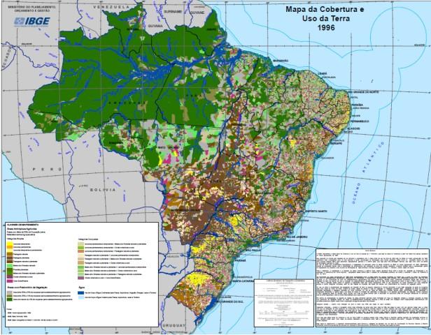 Mapa mural de uso da terra do Brasil