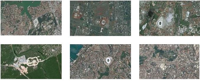 Imagens de satélite mostram estádios brasileiros em alta resolução Imágenes de satélite muestran estadios brasileños