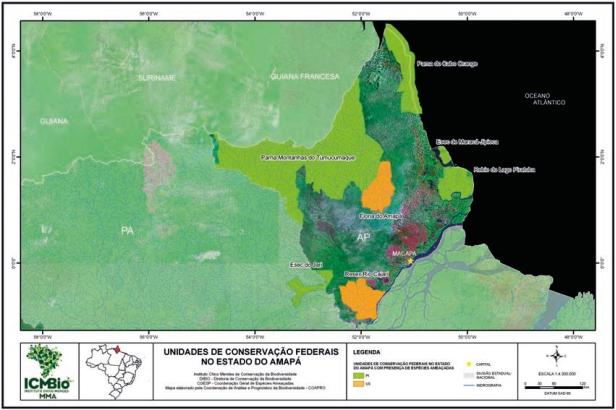 Unidades de conservação federais no estado do Amapá Mapa: ICMBio