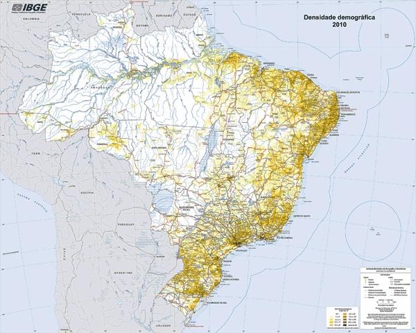 IBGE lança mapa de Densidade Demográfica de 2010