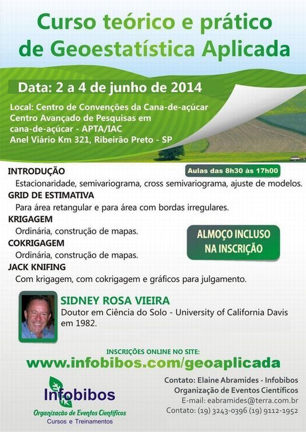 Curso geoestatistica aplicada Infobibos anuncia curso teórico e prático de geoestatística