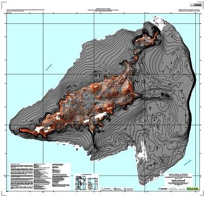 Mapa elaborado pela CPRM do arquipélago de Fernando de Noronha