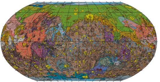 Marte 1 Novo mapa de Marte traz geologia do planeta em detalhes