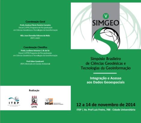 SIMGEO V Simpósio de Geodésia e Geoinformação acontecerá em novembro