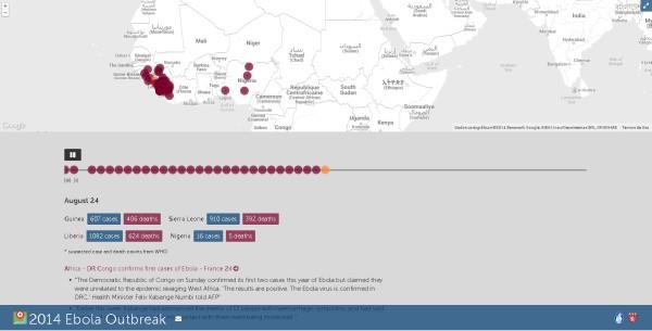 Ebola Se están elaborando mapas para identificar la evolución del surto de ébola