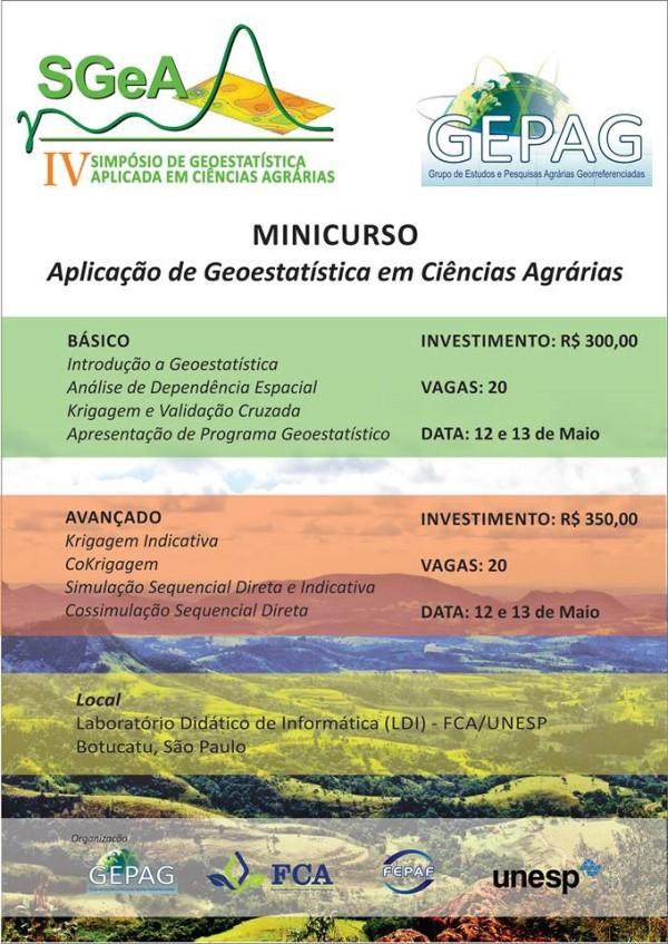 Cartaz SGEA 2015 Minicurso1 IV Simpósio de Geoestatística e Ciências Agrárias ocorrerá em 2015