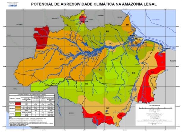 Mapa de agressividade climática na Amazônia