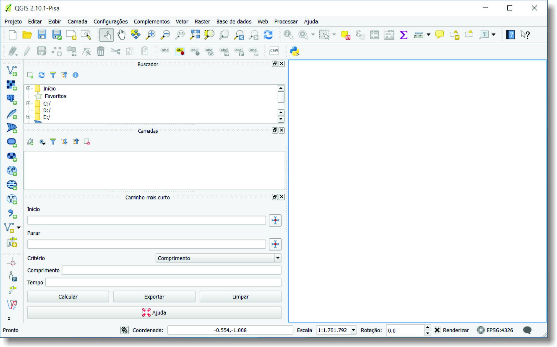 Interface inicial Decifrando o georreferenciamento de carta topográfica no QGIS