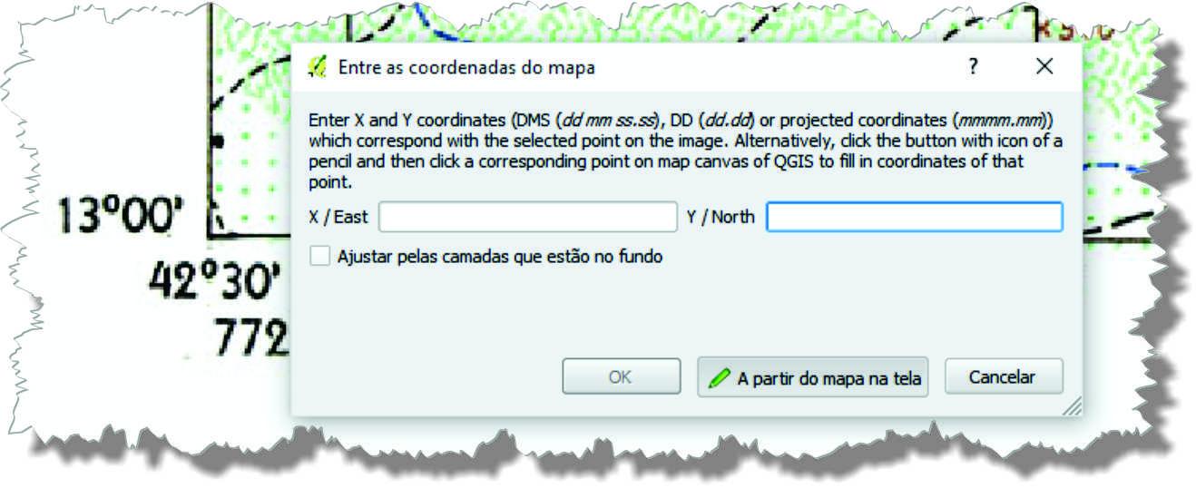 JANELA DE INSERCAO Decifrando o georreferenciamento de carta topográfica no QGIS