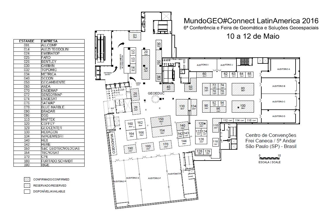 Planta Connect 2016 Feira MundoGEO#Connect 2016 já tem cerca de 80% de seu espaço ocupado