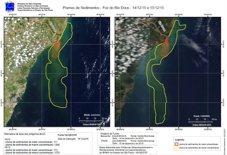 plumas de sedimentos Imagens de satélite apontam tendências de movimentação da pluma do Rio Doce no litoral