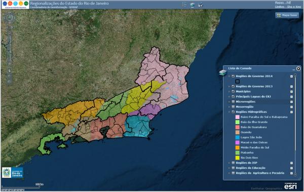 portal 4 mapa regionalizcao 600x379 Portal de Geoinformações disponibiliza dados georreferenciados do Rio de Janeiro