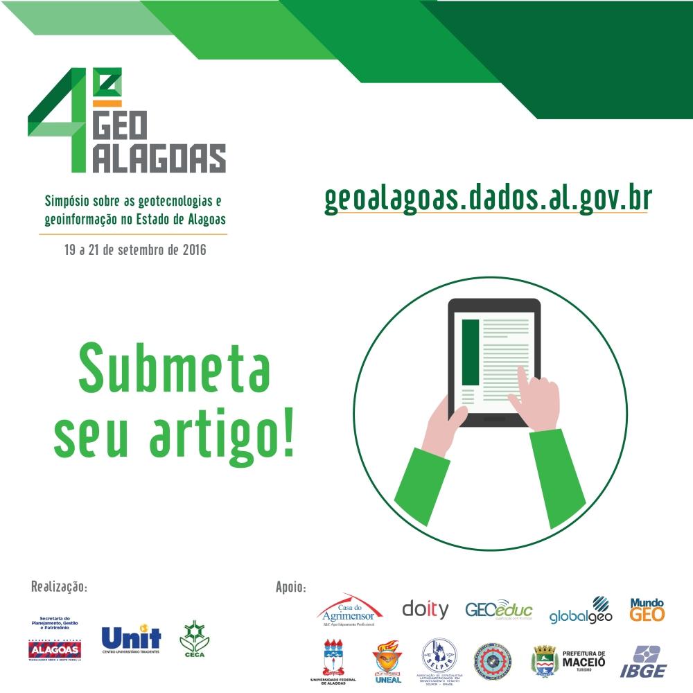 GeoAlagoas poster Estão abertas submissões de artigos para o IV GeoAlagoas