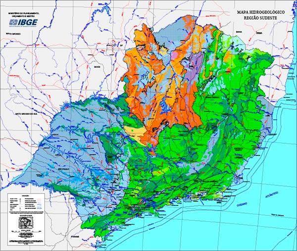 IBGE disponibiliza Mapa Hidrogeológico da Região Sudeste