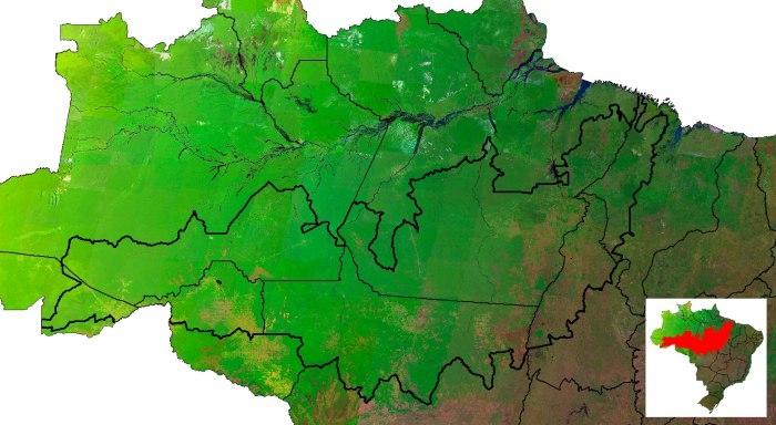 Área de interesse do projeto compreendendo o Arco do desmatamento Geoambiente fornecerá imagens de radar para o monitoramento da Amazônia
