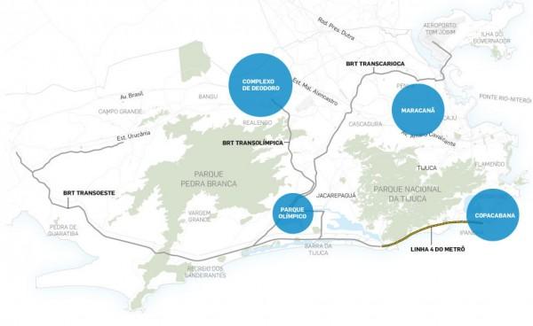 mapa teste 600x368 Legados das Olimpíadas Rio 2016: mobilidade urbana
