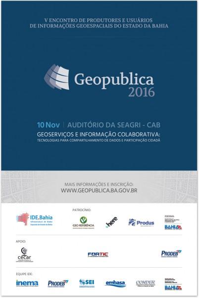 Cartaz Web Geopublica2016 402x600 Encontro de produtores e usuários de informações geoespaciais acontece na Bahia
