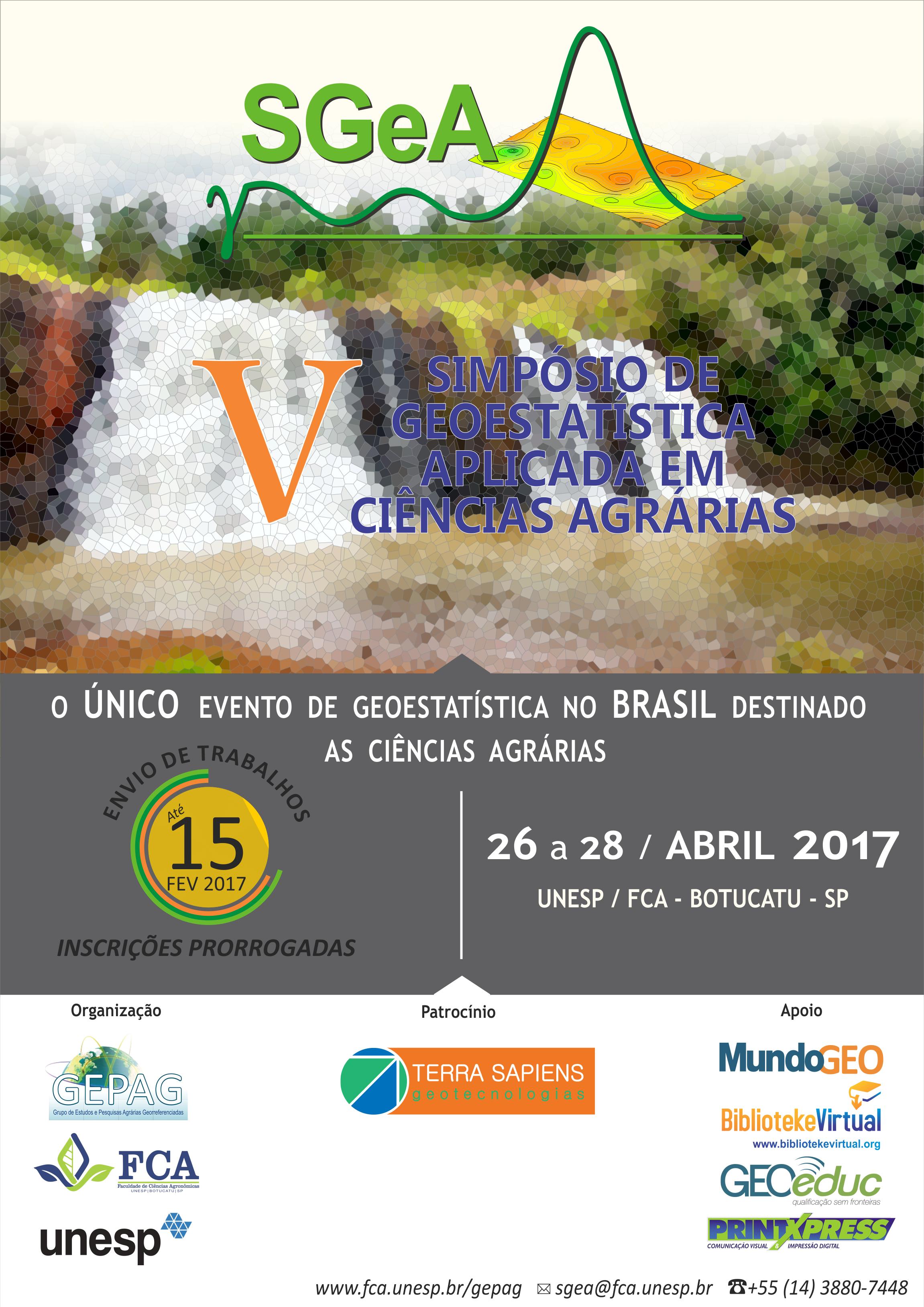SGeA 2017 Simpósio de Geoestatística Aplicada em Ciências Agrárias acontece em abril