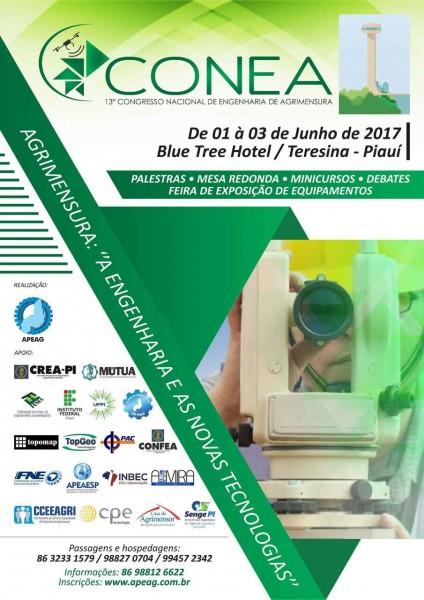 POSTER CONEA 424x600 Disponíveis certificados do 13° Congresso Nacional de Engenharia de Agrimensura