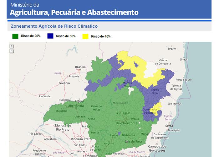 Zoneamento para plantio de milho em Minas Gerais com três níveis de risco: 20% em verde; 30%, azul; e 40% em amarelo - Foto: Tela do sistema