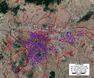 Banco conta com informações georreferenciadas sobre cada ciclovia, estações de bicicletas compartilhadas e bicicletários (imagem: CEM)