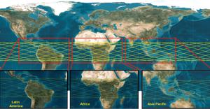 Área de cobertura das imagens de satélite TeLEOS 1