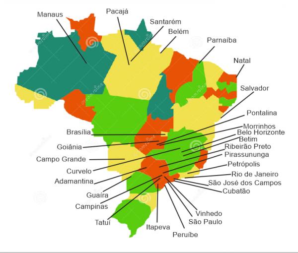 Mapa dos alunos outubro 2017 600x510 Rede de Profissionais Albatroz Brasil Drones cresce a cada mês