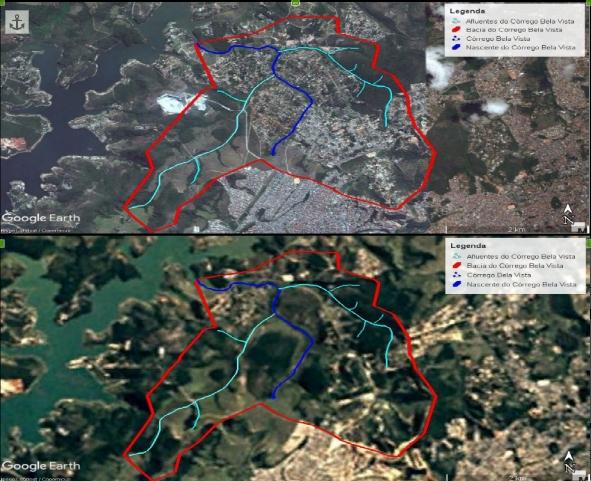 Figura 3 – Fotos obtidas pelo Google Earth que representam a ocupação urbana no entorno do córrego Bela Vista nos anos de 1997 e 2017 respectivamente. Fonte: Adaptado pelos autores, 2017.