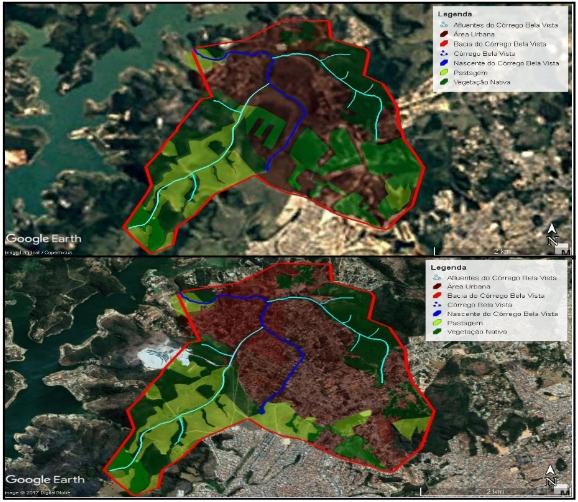 Figura 4- Fotos obtidas pelo Google Earth e processadas no AUTOCAD, demostrando o uso e ocupação do solo na sub-bacia do córrego Bela Vista, nos anos de 1997 e 2017 respectivamente. Fonte: Adaptado pelos autores, 2017.