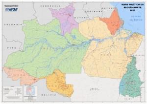 mapa politico regiao norte 300x213 IBGE atualiza mapas político administrativos das regiões brasileiras
