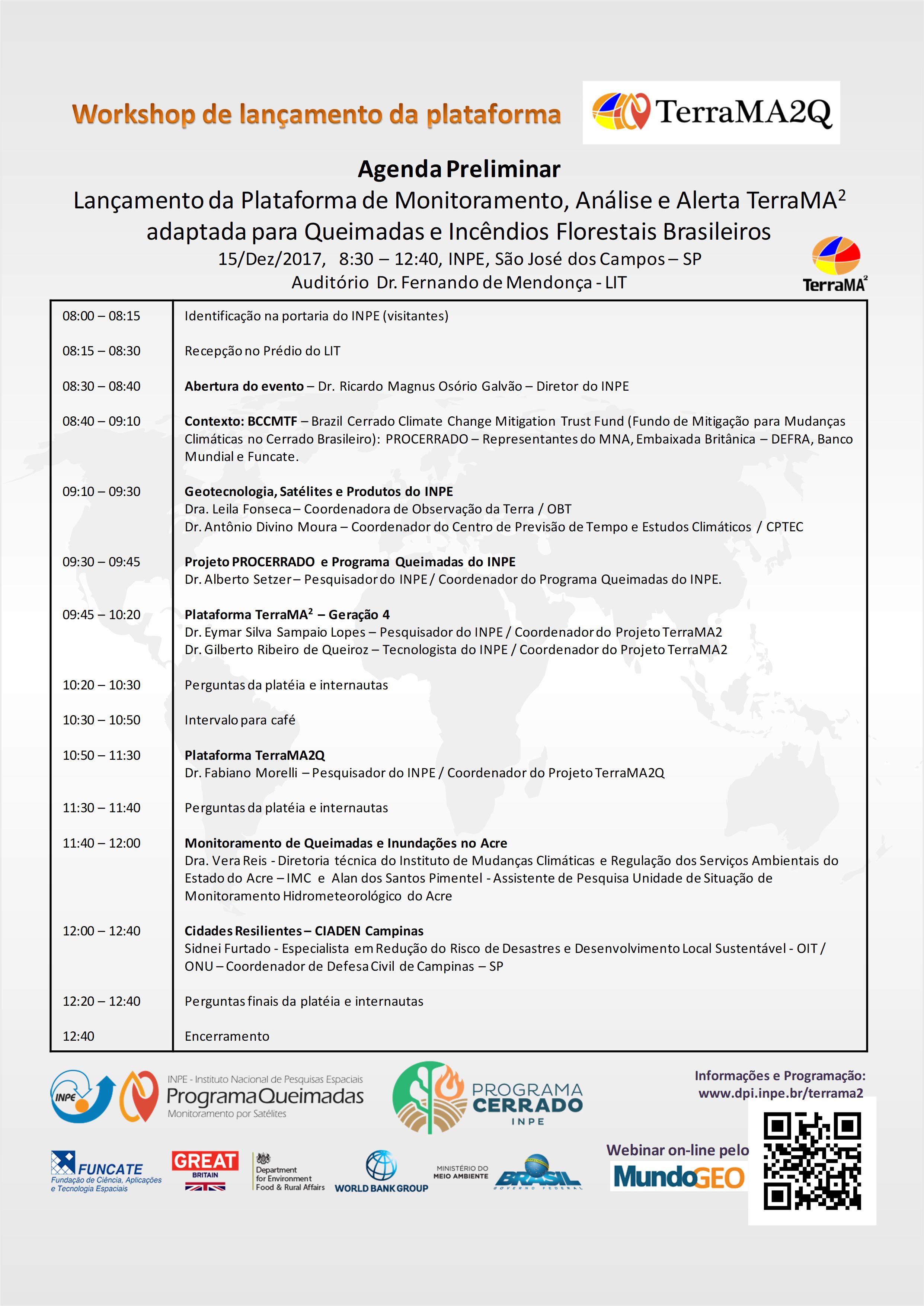 Agenda LancamTerraMA21 Inpe convida para lançamento da plataforma TerraMA2