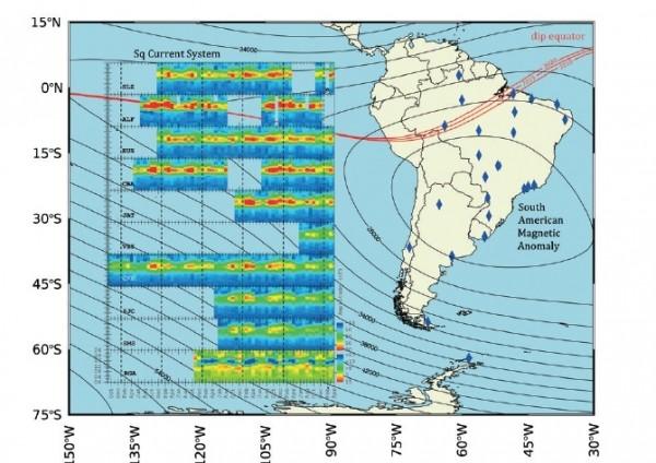 red clima espacial América del Sur 600x424 Una nueva red investiga el clima espacial sobre América del Sur