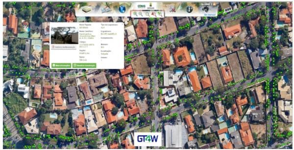 mapa da contagem de arvores 600x307 Belo Horizonte implanta Cadastro e Gestão do Inventário das Árvores