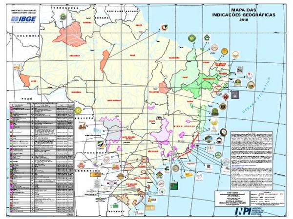 MAPAS DAS INDICACOES GEOGRAFICAS 2018 600x450 IBGE divulga versão 2018 do Mapa das Indicações Geográficas do Brasil