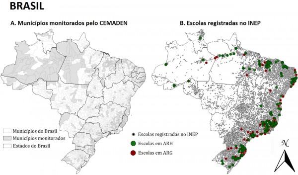 mapa das escolas em areas de risco 600x352 Desastres ambientais colocam em risco comunidades escolares