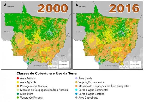 Evolução da cobertura e uso da terra em Mato Grosso – 2000 e 2016 600x425 IBGE atualiza dados sobre cobertura e uso do solo no Brasil