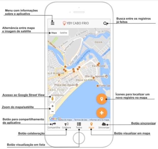 tela do aplicativo ypy Artigo: Geovisualização e geocolaboração do patrimônio histórico de Cabo Frio RJ