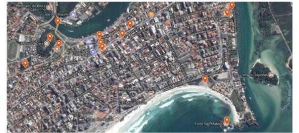 tela do google maps Artigo: Geovisualização e geocolaboração do patrimônio histórico de Cabo Frio RJ