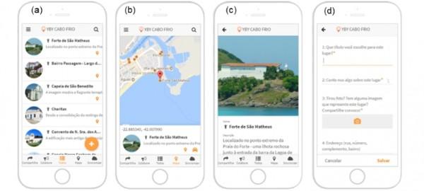 telas do aplicativo de cabo frio 600x270 Artigo: Geovisualização e geocolaboração do patrimônio histórico de Cabo Frio RJ