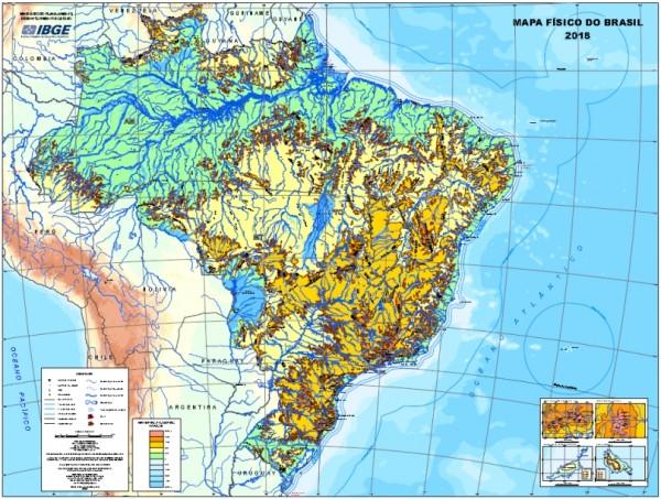novo mapa físico do brasil 600x453 Após 10 anos, IBGE lança nova versão do Mapa Físico do Brasil