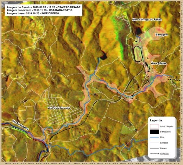 brumadinho area afedada satelite 600x540 Geotecnologias na resposta ao desastre de Brumadinho