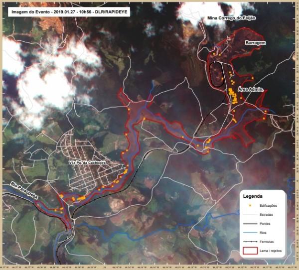brumadinho area afedada satelite rapideye 600x542 Geotecnologias na resposta ao desastre de Brumadinho