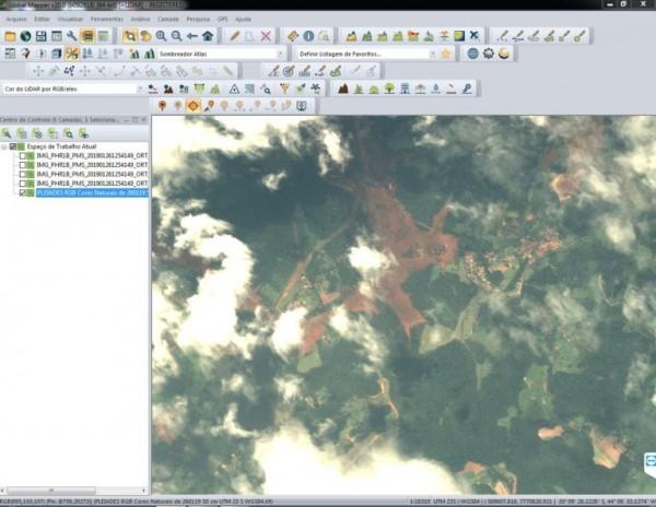 imagem de satelite de brumadinho de sexta feira 600x464 Geotecnologias na resposta ao desastre de Brumadinho
